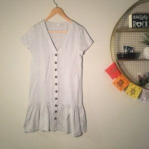 Dresses & Skirts - Off white linen button down peplum dress